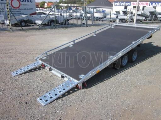 Dvouosý brzděný přívěs s hydraulicky sklopnou plochou AD speciál plato 2,7t 4,15/1,88** č.8
