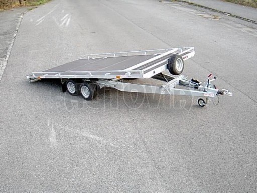 Dvouosý brzděný přívěs s hydraulicky sklopnou plochou AD speciál plato 2,7t 4,15/1,88** č.10