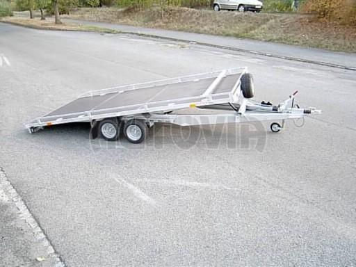Dvouosý brzděný přívěs s hydraulicky sklopnou plochou AD speciál plato 2,7t 4,15/1,88** č.11
