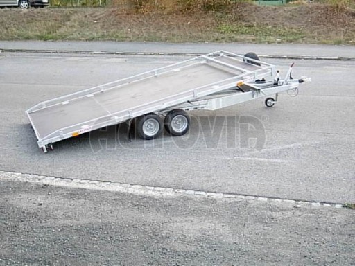 Dvouosý brzděný přívěs s hydraulicky sklopnou plochou AD speciál plato 2,7t 4,15/1,88** č.12