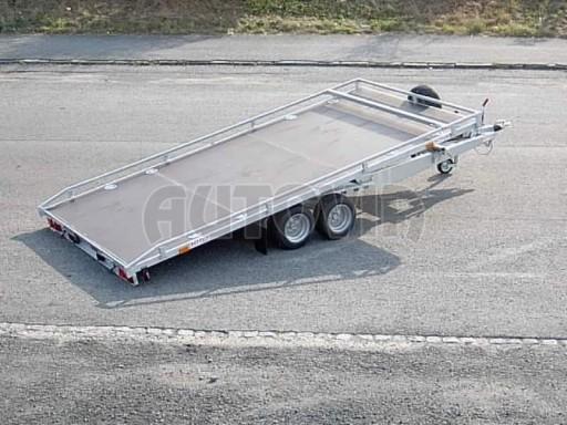 Dvouosý brzděný přívěs s hydraulicky sklopnou plochou AD speciál plato 2,7t 4,15/1,88** č.13