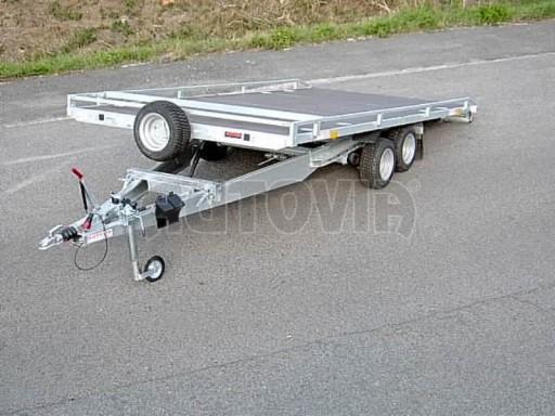 Dvouosý brzděný přívěs s hydraulicky sklopnou plochou AD speciál plato 2,7t 4,15/1,88** č.14