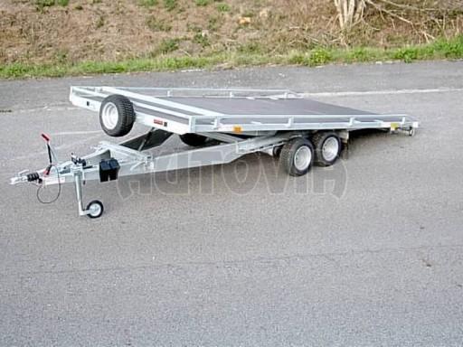 Dvouosý brzděný přívěs s hydraulicky sklopnou plochou AD speciál plato 2,7t 4,15/1,88** č.15