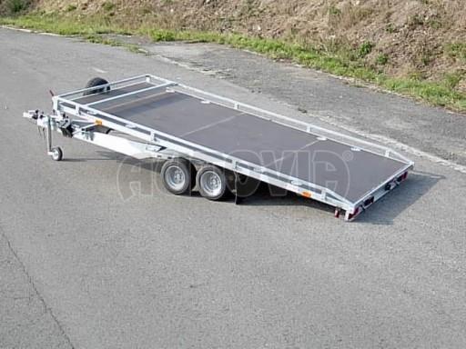 Dvouosý brzděný přívěs s hydraulicky sklopnou plochou AD speciál plato 2,7t 4,15/1,88** č.17