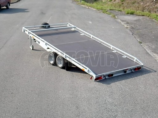 Dvouosý brzděný přívěs s hydraulicky sklopnou plochou AD speciál plato 2,7t 4,15/1,88** č.18