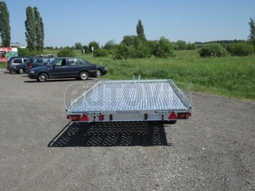 Dvouosý brzděný přívěs s hydraulicky sklopnou plochou AD speciál plato 2,7t 4,15/1,88** č.23