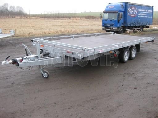 Dvouosý brzděný přívěs s hydraulicky sklopnou plochou AD speciál plato 2,7t 4,15/1,88** č.27