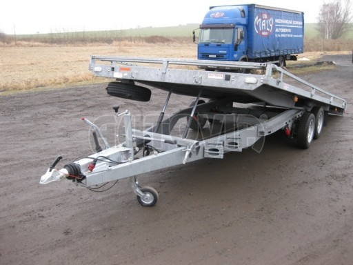 Dvouosý brzděný přívěs s hydraulicky sklopnou plochou AD speciál plato 2,7t 4,15/1,88** č.31
