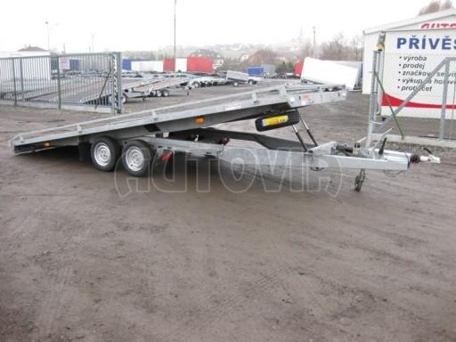 Dvouosý brzděný přívěs s hydraulicky sklopnou plochou AD speciál plato 2,7t 4,15/1,88** č.34