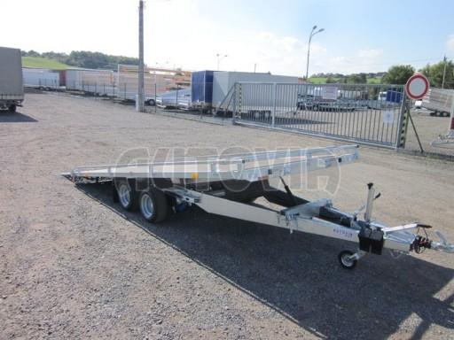 Dvouosý brzděný přívěs s hydraulicky sklopnou plochou AD speciál plato 2,7t 4,15/1,88** č.35