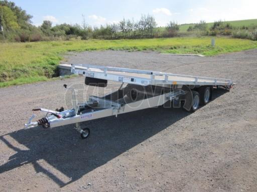 Dvouosý brzděný přívěs s hydraulicky sklopnou plochou AD speciál plato 2,7t 4,15/1,88** č.36