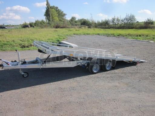 Dvouosý brzděný přívěs s hydraulicky sklopnou plochou AD speciál plato 2,7t 4,15/1,88** č.37