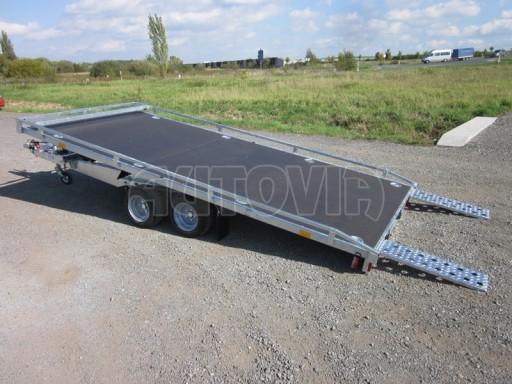 Dvouosý brzděný přívěs s hydraulicky sklopnou plochou AD speciál plato 2,7t 4,15/1,88** č.38
