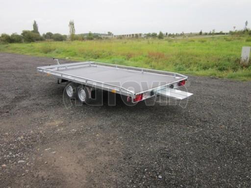 Dvouosý brzděný přívěs s hydraulicky sklopnou plochou AD speciál plato 2,7t 4,15/1,88** č.57