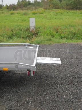 Dvouosý brzděný přívěs s hydraulicky sklopnou plochou AD speciál plato 2,7t 4,15/1,88** č.58