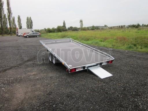 Dvouosý brzděný přívěs s hydraulicky sklopnou plochou AD speciál plato 2,7t 4,15/1,88** č.60