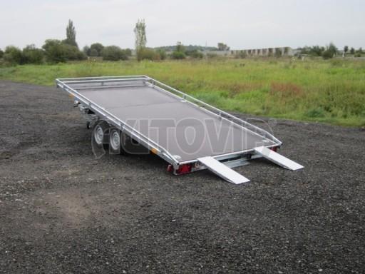 Dvouosý brzděný přívěs s hydraulicky sklopnou plochou AD speciál plato 2,7t 4,15/1,88** č.63