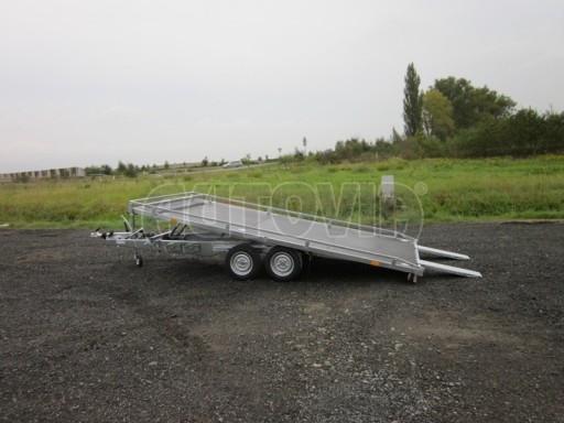 Dvouosý brzděný přívěs s hydraulicky sklopnou plochou AD speciál plato 2,7t 4,15/1,88** č.64