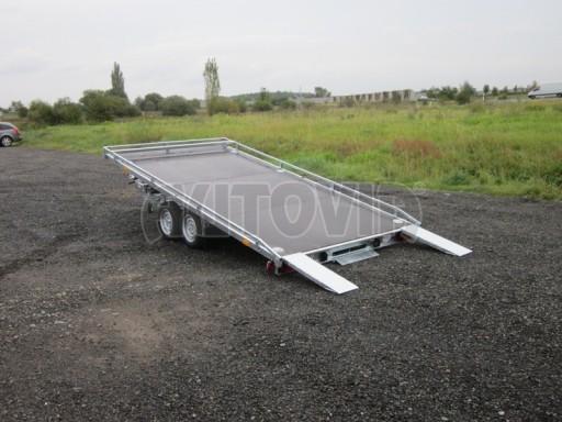 Dvouosý brzděný přívěs s hydraulicky sklopnou plochou AD speciál plato 2,7t 4,15/1,88** č.69