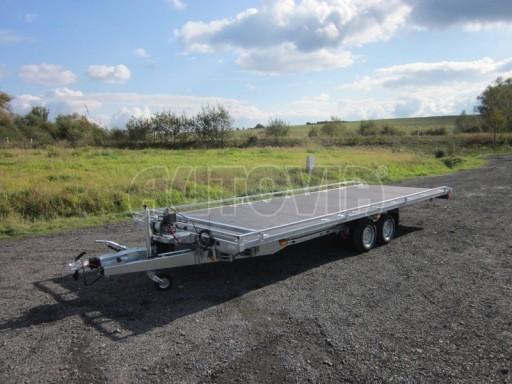 Dvouosý brzděný přívěs s hydraulicky sklopnou plochou AD speciál plato 2,7t 4,15/1,88** č.73