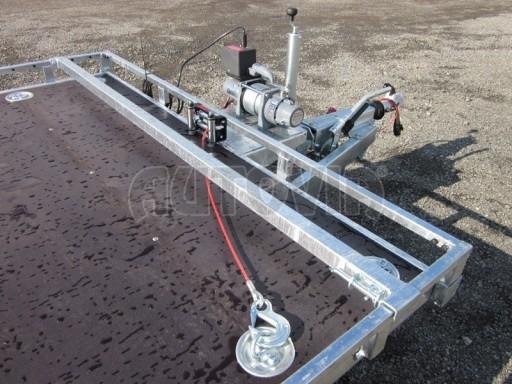 Dvouosý brzděný přívěs s hydraulicky sklopnou plochou AD speciál plato 2,7t 4,15/1,88** č.77