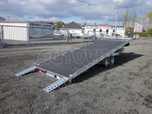 Dvouosý brzděný přívěs s hydraulicky sklopnou plochou AD speciál plato 2,7t 4,15/1,88** č.84