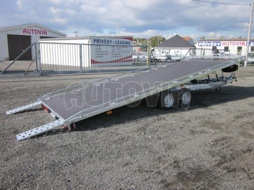 Dvouosý brzděný přívěs s hydraulicky sklopnou plochou AD speciál plato 2,7t 4,15/1,88** č.85