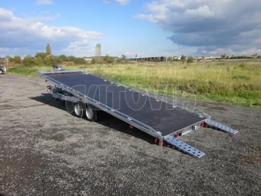 Dvouosý brzděný přívěs s hydraulicky sklopnou plochou AD speciál plato 2,7t 4,15/1,88** č.86