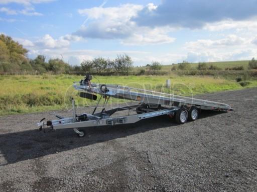 Dvouosý brzděný přívěs s hydraulicky sklopnou plochou AD speciál plato 2,7t 4,15/1,88** č.87