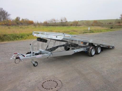 Dvouosý brzděný přívěs s hydraulicky sklopnou plochou AD speciál plato 2,7t 4,15/1,88** č.94
