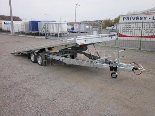 Dvouosý brzděný přívěs s hydraulicky sklopnou plochou AD speciál plato 2,7t 4,15/1,88** č.98