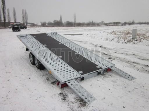 Dvouosý brzděný přívěs s hydraulicky sklopnou plochou AD speciál plato 2,7t 4,15/1,88** č.99
