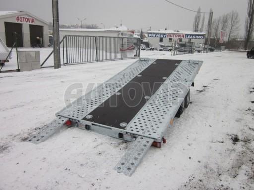 Dvouosý brzděný přívěs s hydraulicky sklopnou plochou AD speciál plato 2,7t 4,15/1,88** č.100