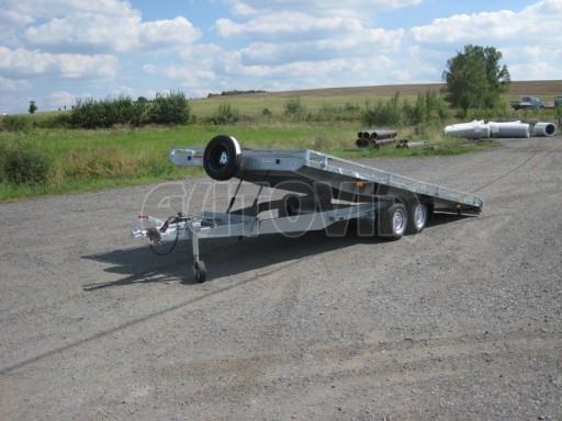 Dvouosý brzděný přívěs s hydraulicky sklopnou plochou AD speciál plato 2,7t 4,15/1,88** č.102