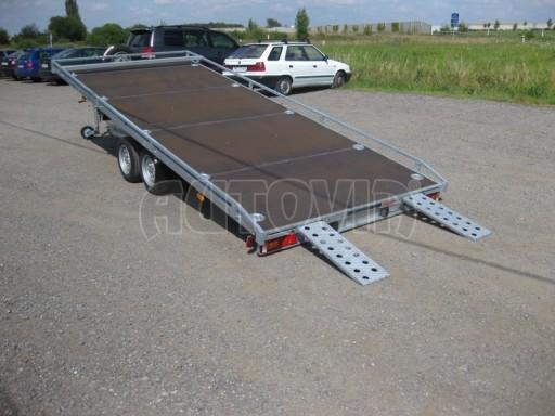 Dvouosý brzděný přívěs s hydraulicky sklopnou plochou AD speciál plato 2,7t 4,15/1,88** č.105