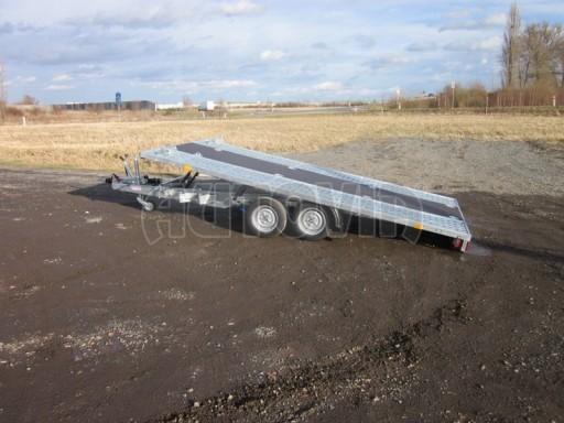 Dvouosý brzděný přívěs s hydraulicky sklopnou plochou AD speciál plato 2,7t 4,15/1,88** č.111
