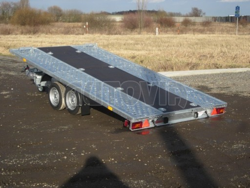 Dvouosý brzděný přívěs s hydraulicky sklopnou plochou AD speciál plato 2,7t 4,15/1,88** č.112