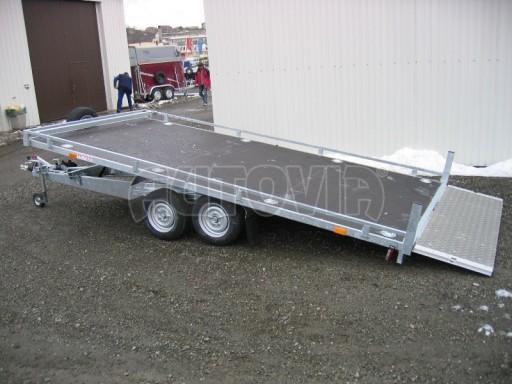 Dvouosý brzděný přívěs s hydraulicky sklopnou plochou AD speciál plato 2,7t 4,15/1,88** č.115