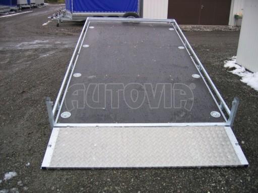 Dvouosý brzděný přívěs s hydraulicky sklopnou plochou AD speciál plato 2,7t 4,15/1,88** č.116