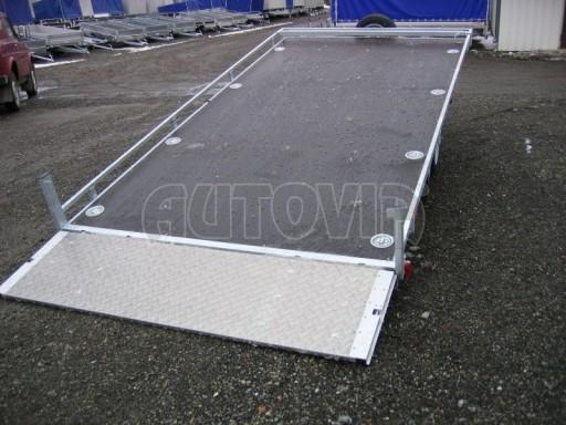 Dvouosý brzděný přívěs s hydraulicky sklopnou plochou AD speciál plato 2,7t 4,15/1,88** č.117
