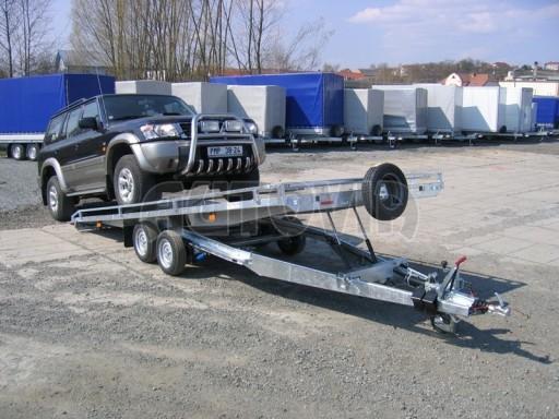Dvouosý brzděný přívěs s hydraulicky sklopnou plochou AD speciál plato 2,7t 4,15/1,88** č.119