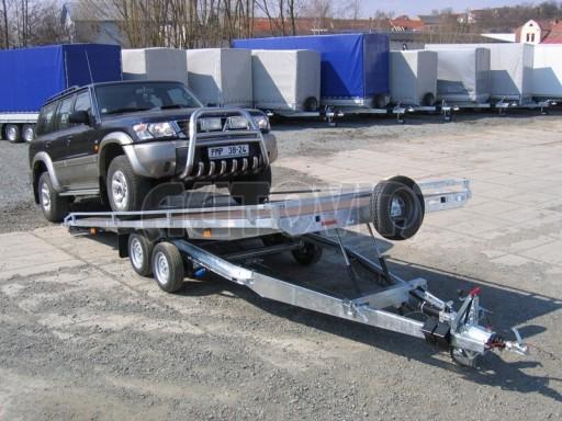 Dvouosý brzděný přívěs s hydraulicky sklopnou plochou AD speciál plato 2,7t 4,15/1,88** č.120