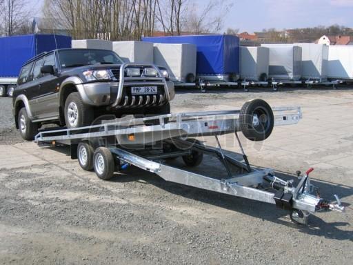 Dvouosý brzděný přívěs s hydraulicky sklopnou plochou AD speciál plato 2,7t 4,15/1,88** č.121