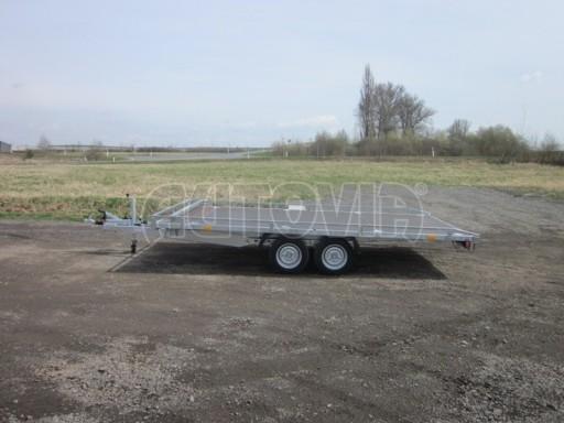 Dvouosý brzděný přívěs s hydraulicky sklopnou plochou AD speciál plato 2,7t 4,15/1,88** č.122