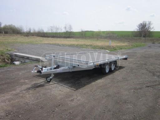 Dvouosý brzděný přívěs s hydraulicky sklopnou plochou AD speciál plato 2,7t 4,15/1,88** č.123