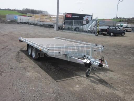 Dvouosý brzděný přívěs s hydraulicky sklopnou plochou AD speciál plato 2,7t 4,15/1,88** č.124