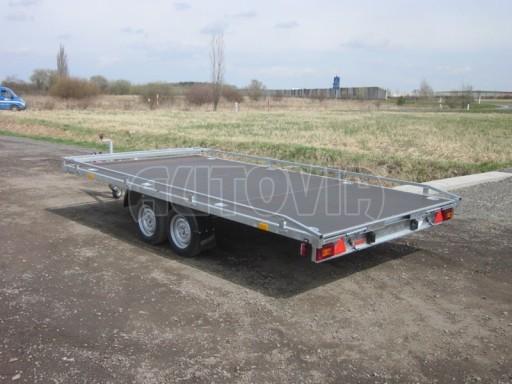 Dvouosý brzděný přívěs s hydraulicky sklopnou plochou AD speciál plato 2,7t 4,15/1,88** č.128
