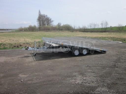 Dvouosý brzděný přívěs s hydraulicky sklopnou plochou AD speciál plato 2,7t 4,15/1,88** č.129
