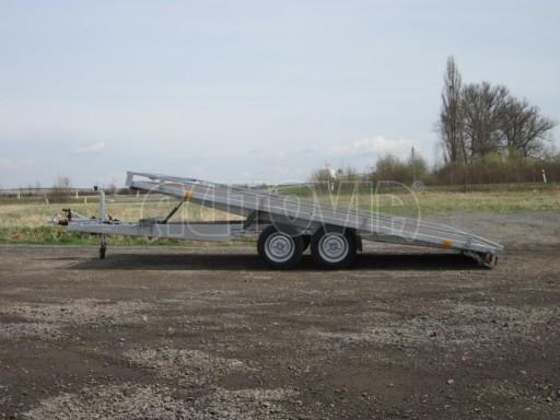 Dvouosý brzděný přívěs s hydraulicky sklopnou plochou AD speciál plato 2,7t 4,15/1,88** č.130