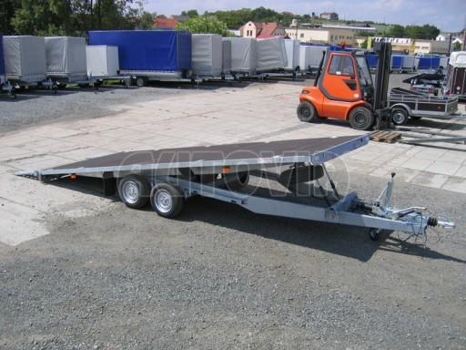 Dvouosý brzděný přívěs s hydraulicky sklopnou plochou AD speciál plato 2,7t 4,15/1,88** č.135